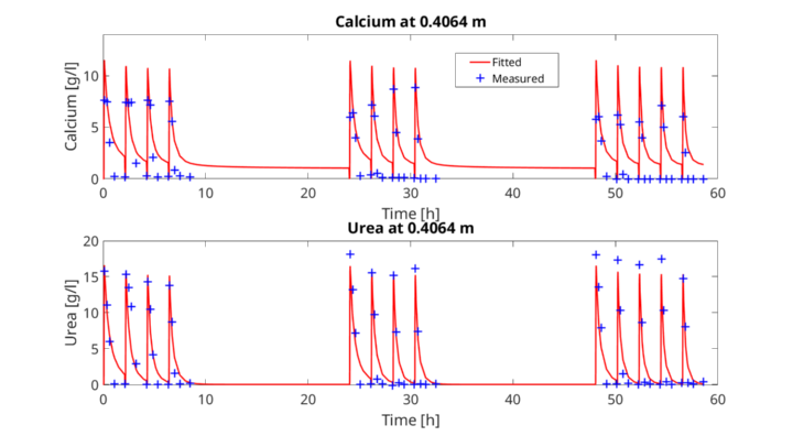 Comparison of the developed model for EICP to the experimental data of the column experiment used to calibrate the model.