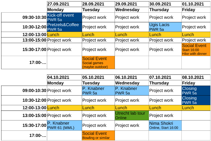 Timetable for the summer school 2021